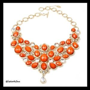 Amrita Singh Crystal Statement Necklace Coral